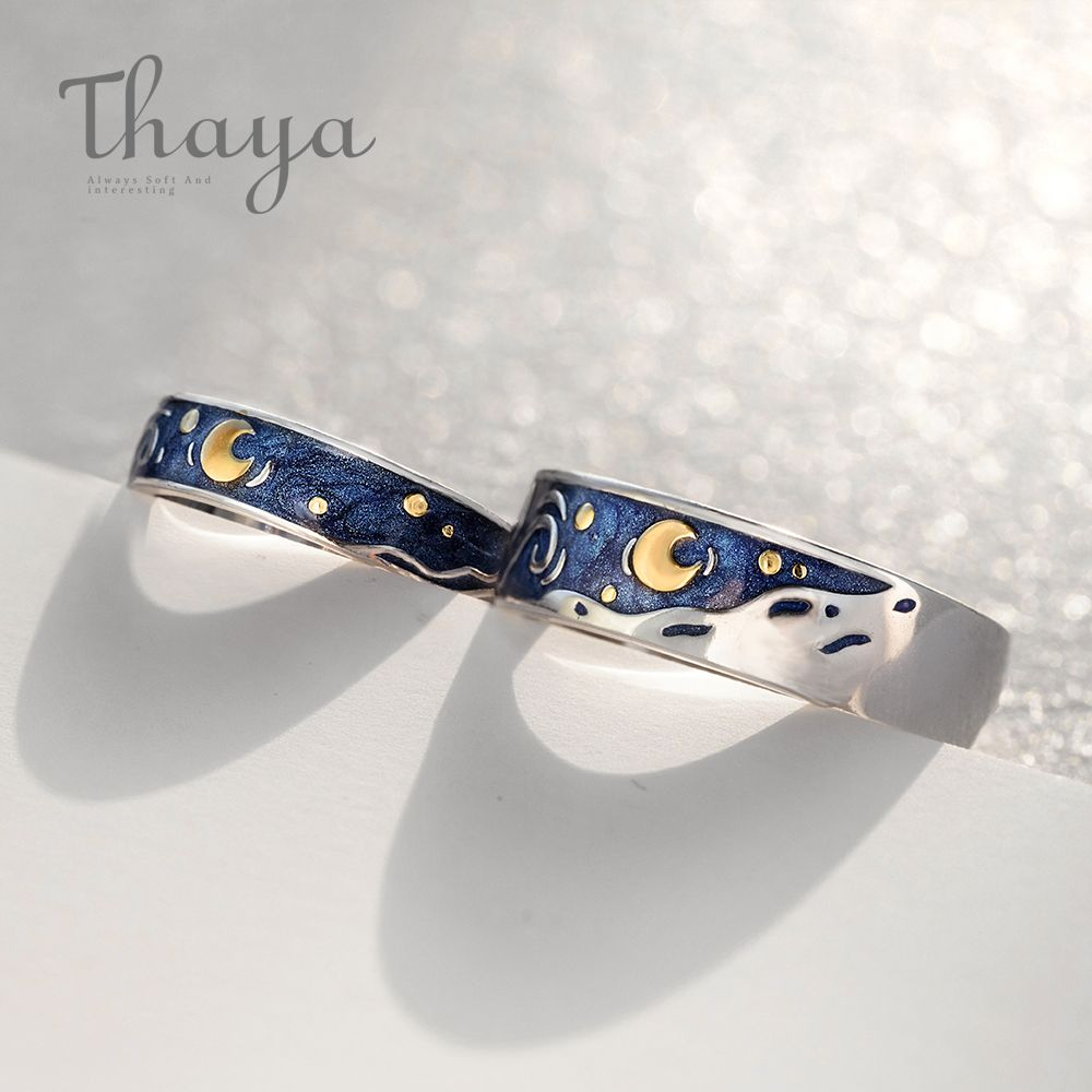 Thaya Van Gogh's Enamel couple rings Sky Star moon s925 silver Glitter Rings Engagement Ring Wedding Jewelry For Women