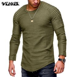 2018 nuevos hombres del o-cuello Irregular camisetas hombre Casual manga larga T shirt Slim Fit Fitness Gyms camisetas Tops s-3XL