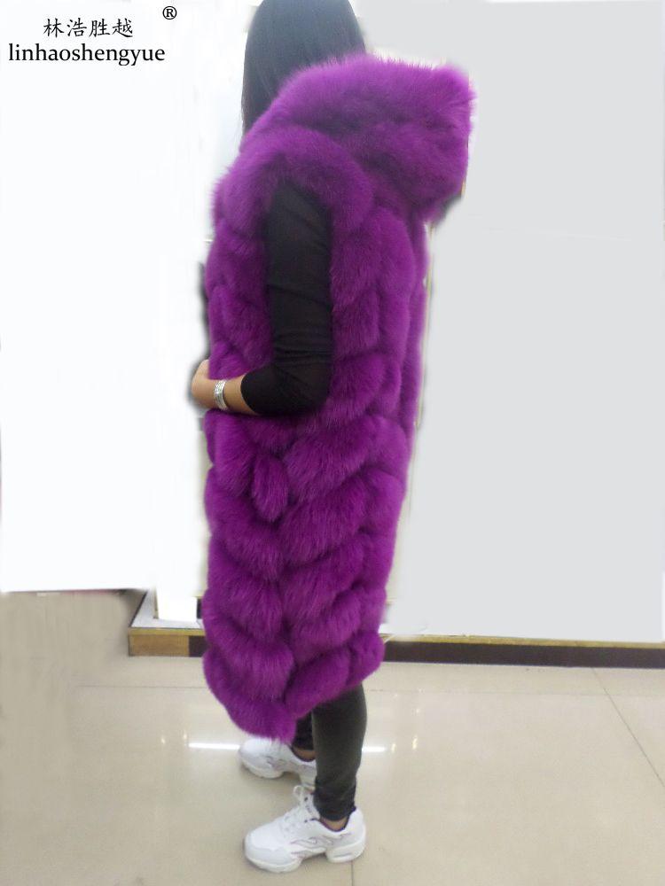 Linhaoshengyue The real fox fur vest with hood long 90cm women real fox fur vest