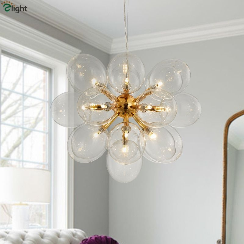 Diameter 62cm Post Modern 19 Light Dia62cm Led G4 Pendant Chandelier Dandelion Clear Bubble Plate Chrome / Gold Led Chandelier
