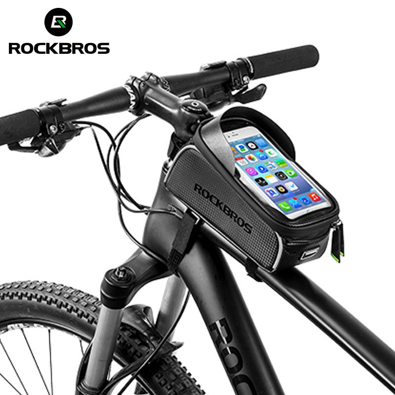 ROCKBROS Cycling MTB Bike Bicycle Bag 6 Waterproof Touch <font><b>Screen</b></font> Top Tube Frame Saddle Bag Phone Case Bike Bicycle Accessories