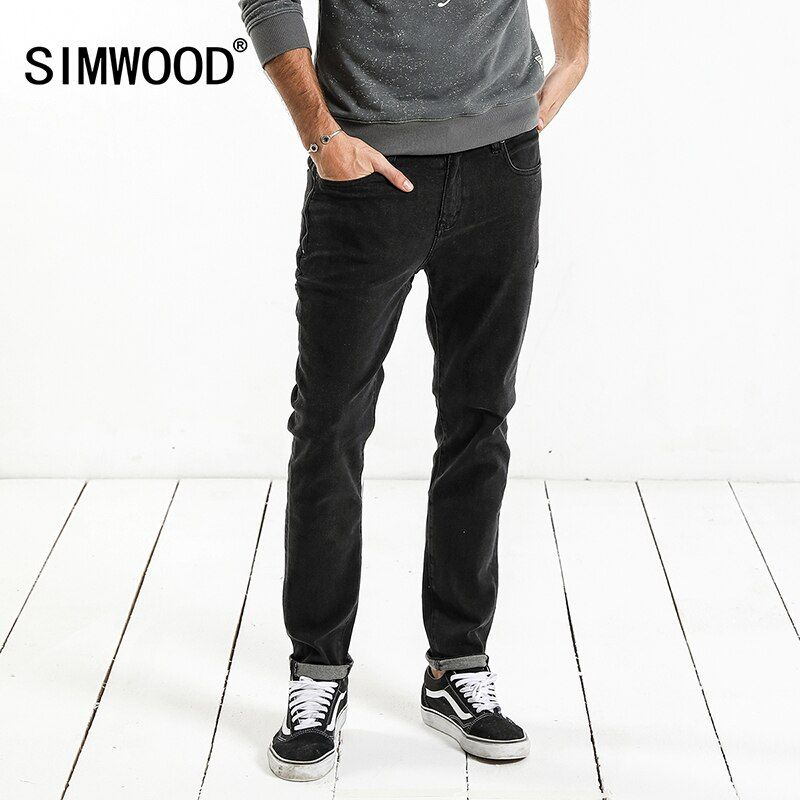 SIMWOOD Brand Jeans Men 2018 Spring New Design Jeans Slim Fit High Quality Plus Size Black Denim Pants Free Shipping NC017062