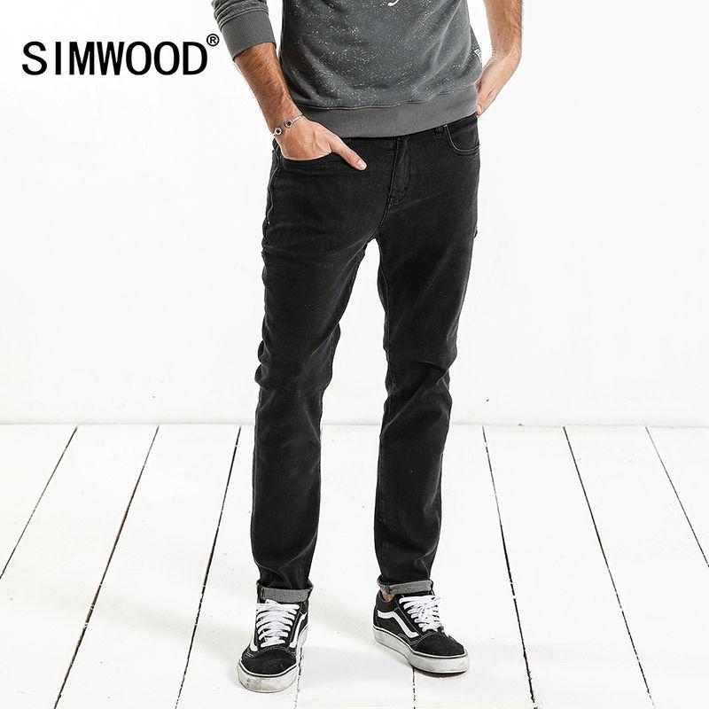 SIMWOOD Marque Jeans Hommes 2018 Printemps Nouveau Design Jeans Slim Fit de Haute Qualité Plus La Taille Noir Denim Pantalon Livraison Gratuite NC017062