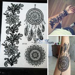 1 unid Hot Dreamcatcher indio grande Sol flor Henna tatuaje temporal negro mehndi Plumas estilo tatuaje impermeable etiqueta pbj013a