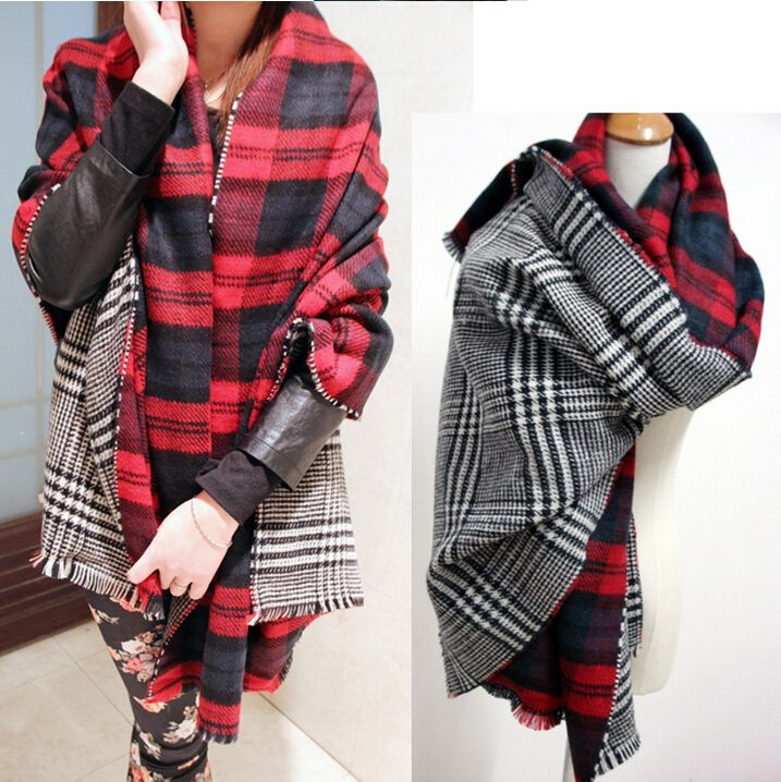 Winter Brand Women's Cashmere Scarf Plaid Oversized double faced plaid <font><b>Multifunction</b></font> Thicken Warm cape Shawl Free Shipping