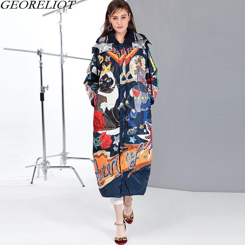 GEORELIOT 2018 New Fashion Cartoon Print Winter Jacket Women Parka Runway Full Sleeve Hooded Thick Winter Coat Down Jackets