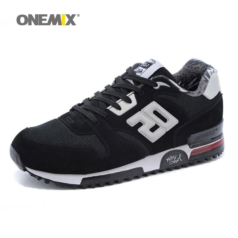 ONEMIX Men Retro 750 Running <font><b>Shoes</b></font> Rubber Leather Sport Women Trainers Sneakers Breathable Female Walking Jogging <font><b>Shoes</b></font> EU 36-44