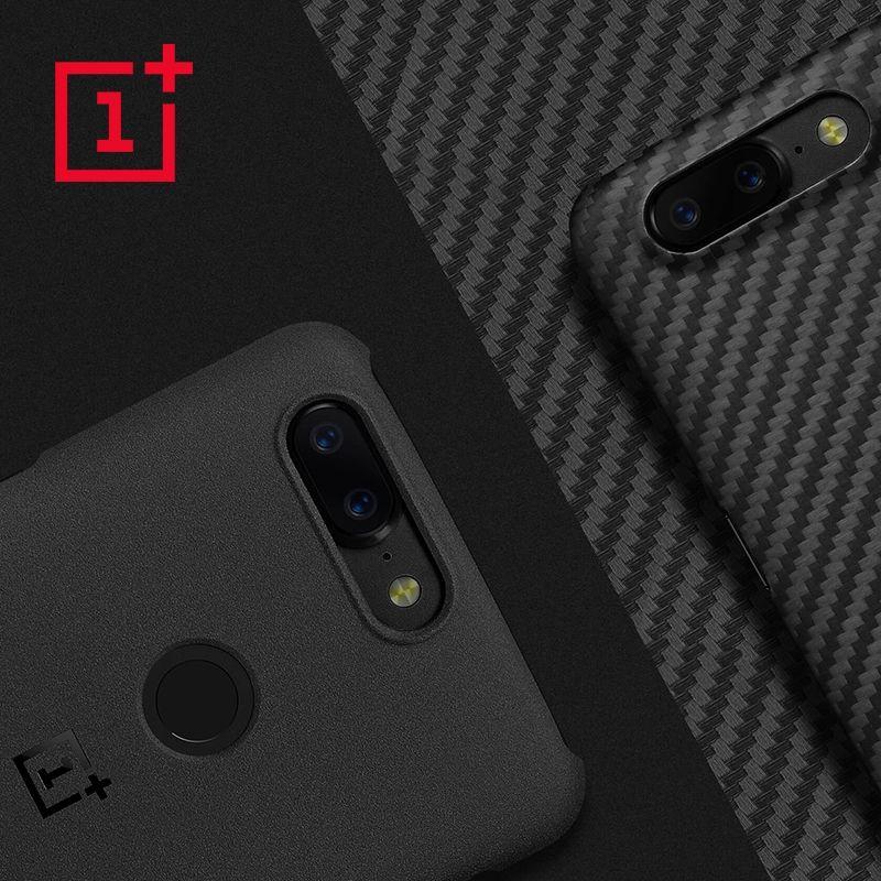 OnePlus 5 T D'origine 100% Officiel Pare-chocs Cas Matériau Aramide fiber PC Demi-rond de Couverture Arrière Shell Grès Carbone pour OnePlus