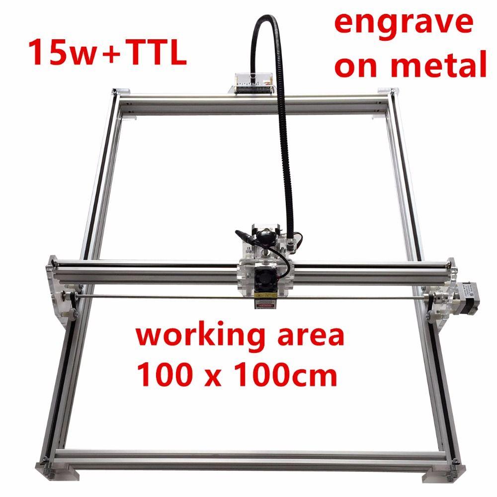 15 watt laser cutter metall kennzeichnung maschine unterstützung englisch software arbeit größe 1*1 mt laser stecher mark auf metall großen arbeits größe power