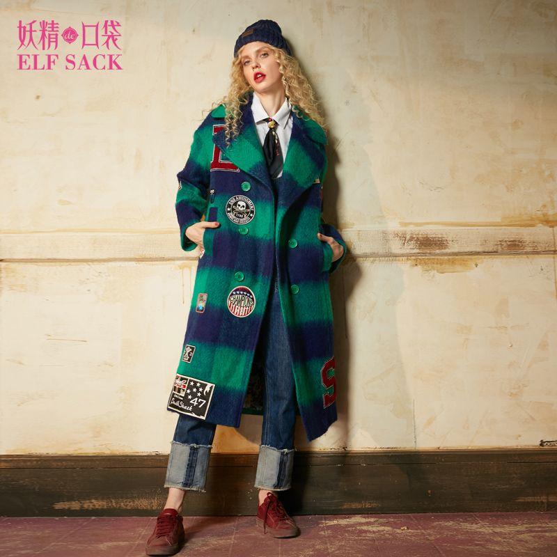 ELF SACK 2017 Winter Women Plaid Long Wool Coats Vintage Punk Womens Badge Embroidery Coats Female Appliques Wool Coat