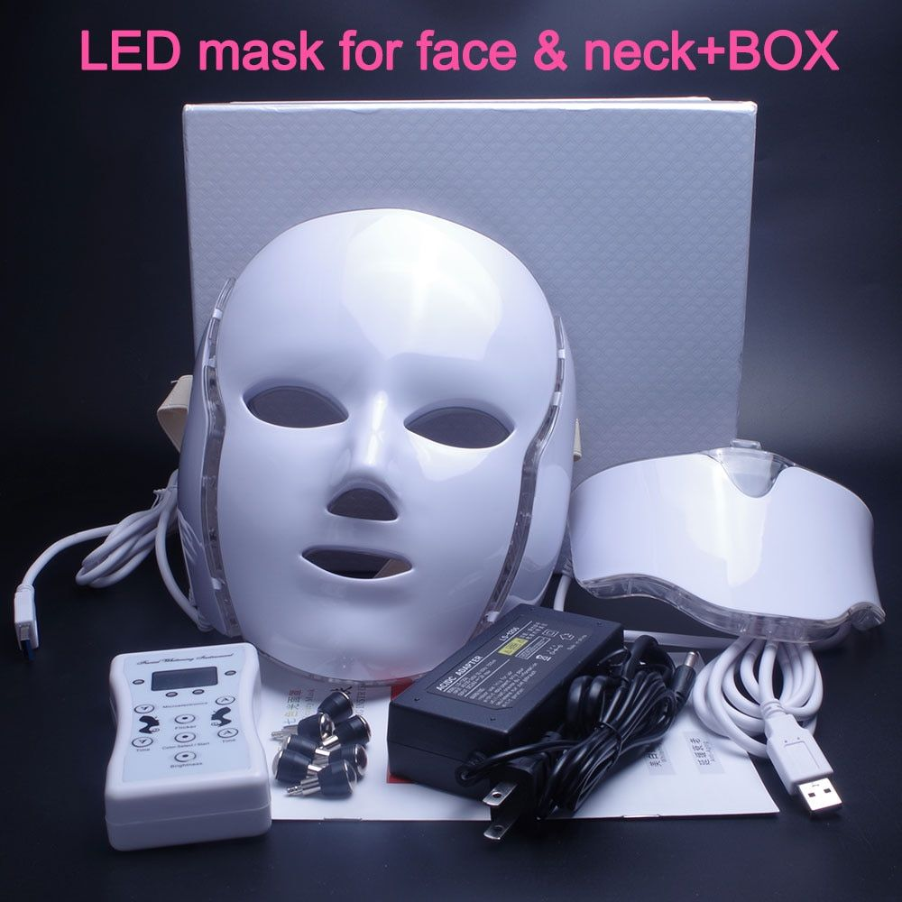 NEWEST 3/7 Colors Photon Electric LED Facial Mask with Neck Skin Rejuvenation Anti Acne Wrinkle Beauty Treatment Salon Home Use