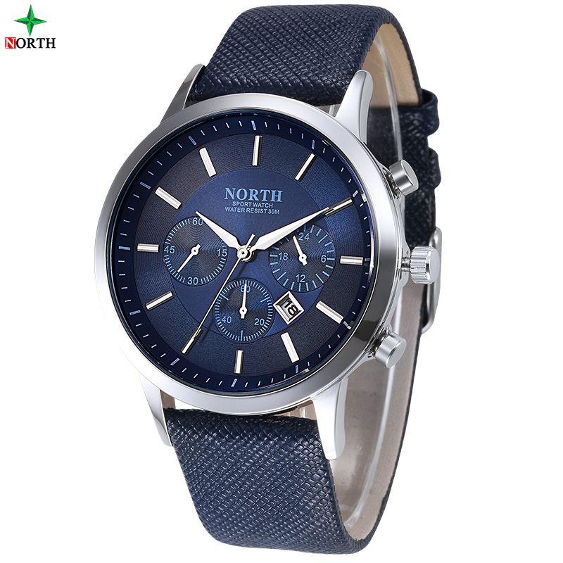 Men Watches Fashion Wristwatch NORTH 30M Waterproof Stainless Steel Casual Male Clock Desgin Military Quartz Men Sport Watch