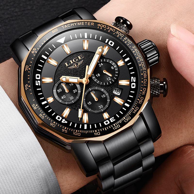 Uhren Hombre 2018 LIGE Mode Herren Uhren Luxus Marke Business Quarzuhr Männer Sport Wasserdichte Multifunktions Chronograph