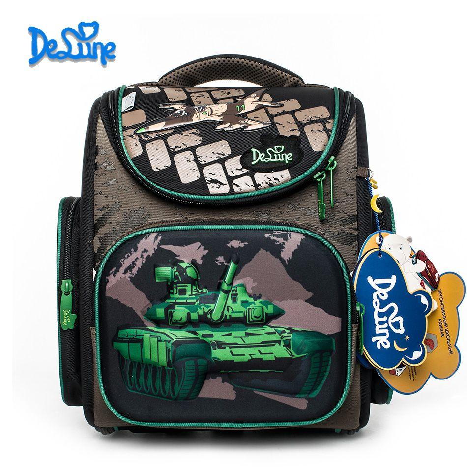 2018 новый бренд delune новых мальчиков школьная сумка 3D танк войны узор Водонепроницаемый ортопедический рюкзак школьный Mochila Infantil Эсколар