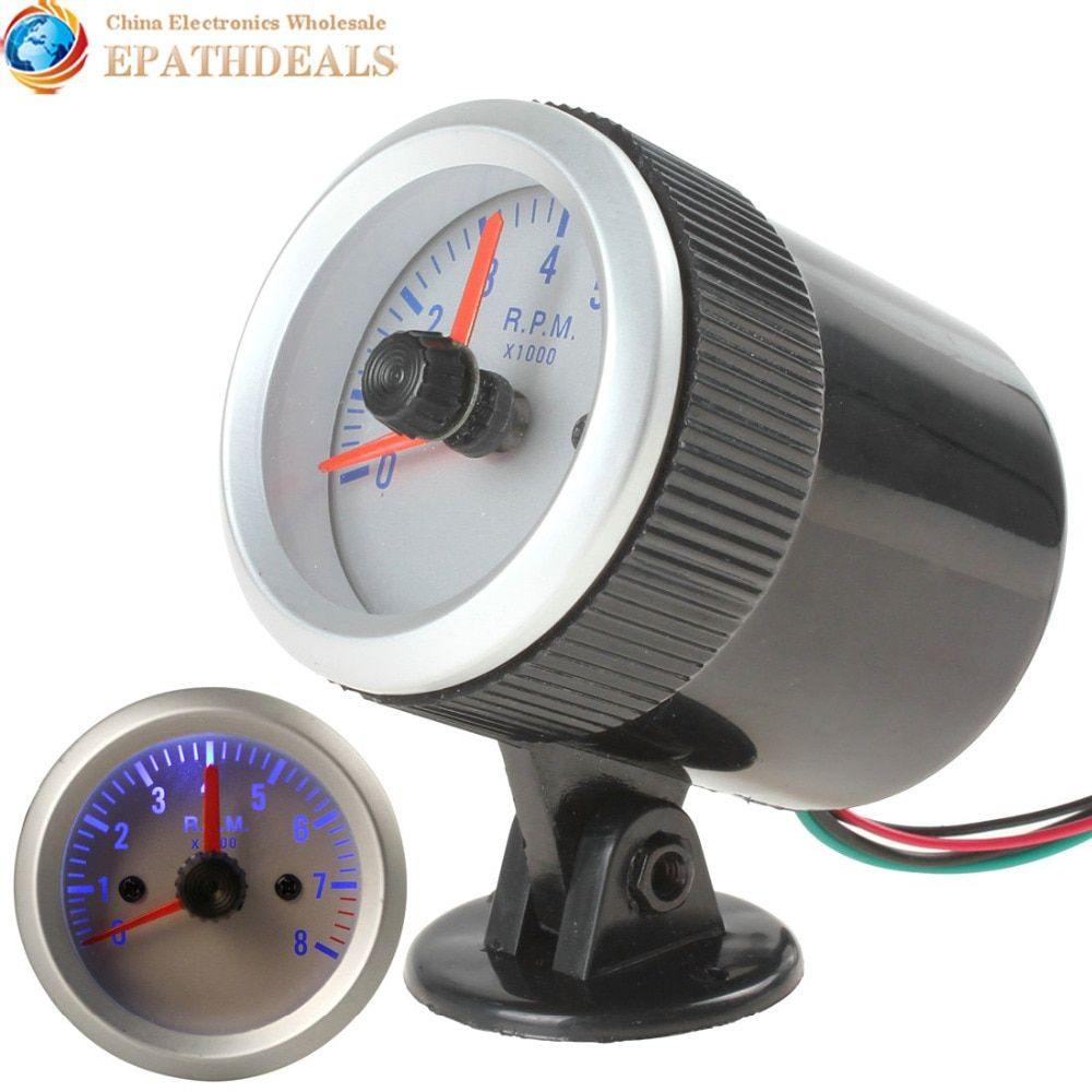 0~8000 RPM Blue Light Auto Car Tachometer Tach Gauge Tacho meter with Holder Cup