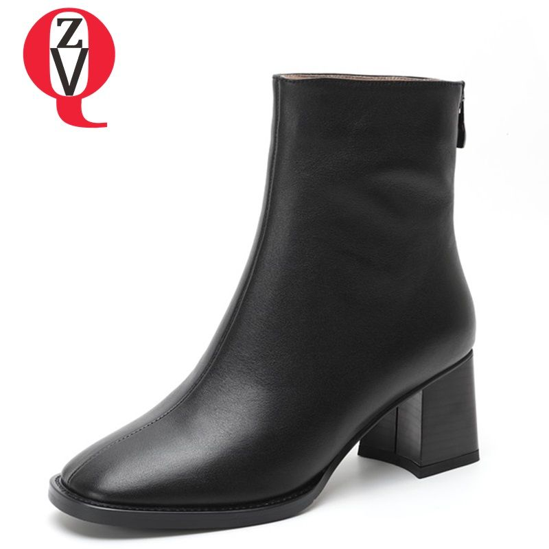 ZVQ newest popular women ankle boots square toe high hoof heels genuine leather zip black and beige fashion concise ladies shoes
