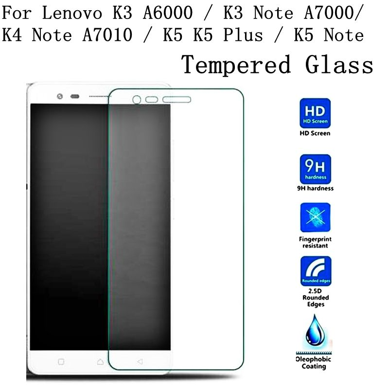 For Lenovo K3 A6000 K3 Note A7000 K4 Note A7010 K5 K5 Plus K5 Note Screen Protector Film 0.3MM Ultra Thin 2.5D Tempered Glass