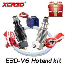 Livraison Gratuite XCR3D 3D Imprimante Pièces E3D V6 Hotend Kit 0.4/1.75 MM J-tête extrudeuse À Distance 12 V 24 V avec Ventilateur De Refroidissement Téflon tube