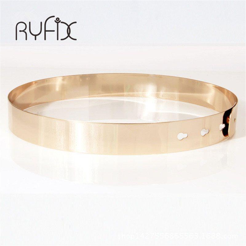 Femmes Punk plein métal miroir skinny taille ceinture 2019 métal plaqué or 3cm larges chaînes dame ceinture ceintures pour robes BL02-2