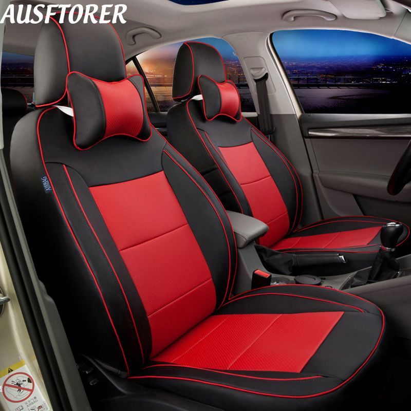 AUSFTORER Genuine Leather Cars Seat Covers for Subaru Forester 2004-2014 2015 2016 2017 2018 Auto Seat Cushion Cover Accessories