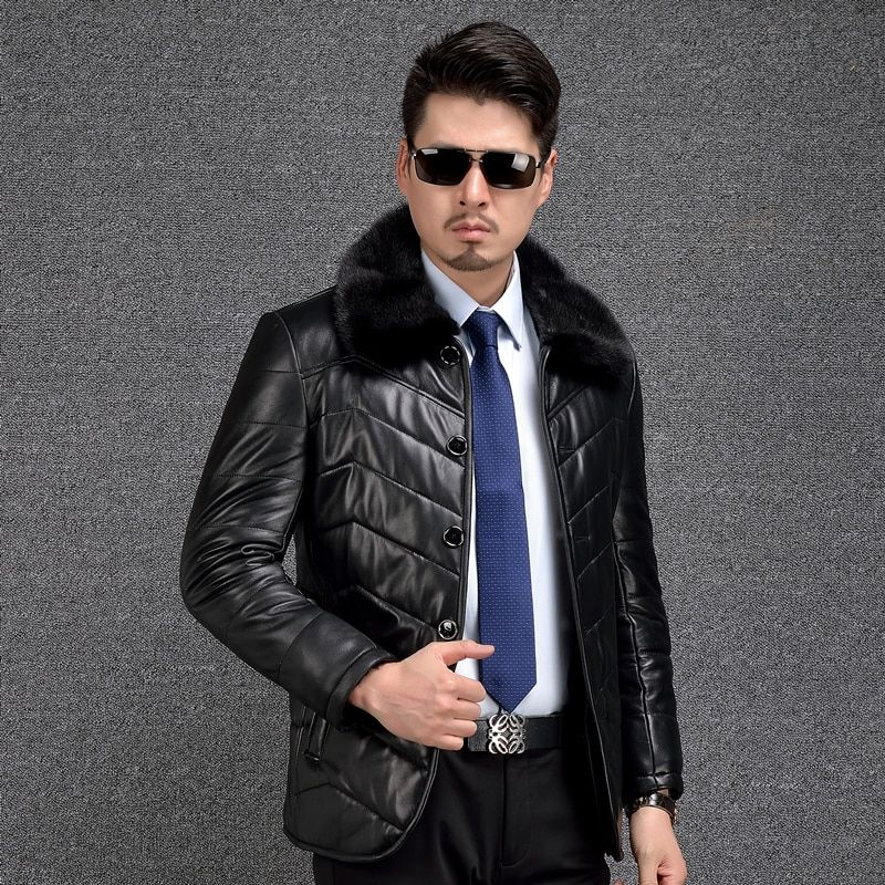 Shearling Coat Men Genuine Leather Coat Thicken Mink Fur Collar Mens Leather Shearling Fur Jackets Winter Wool Liner Warm 2018