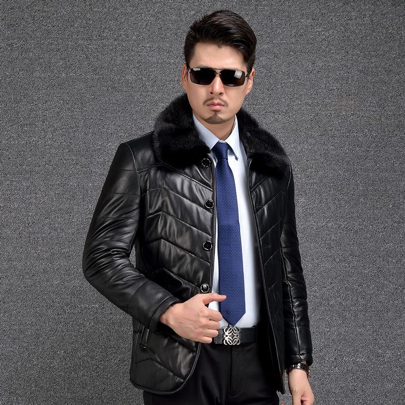 Shearling Coat Men Genuine Leather Coat Thicken Mink Fur Collar Mens Leather Shearling Fur Jackets Winter Wool Liner Warm 2018