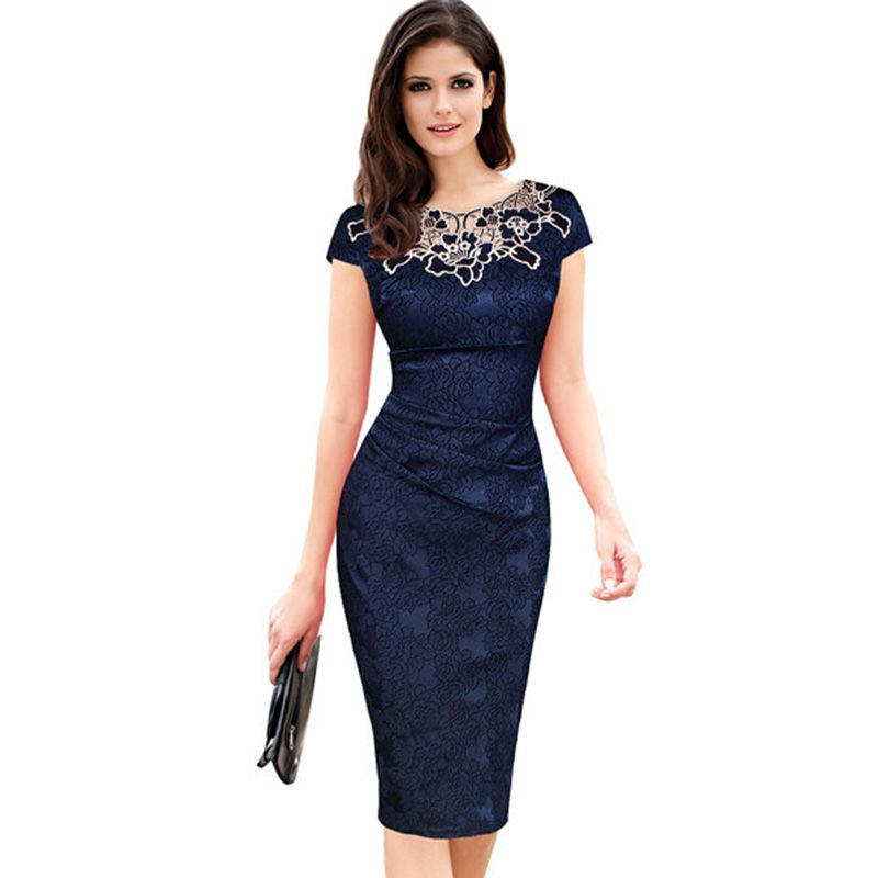 Fantaist Women Summer Floral Embroidery O Neck Ruched Lace Dress <font><b>Elegant</b></font> Wedding Party Casual Office Vintage Midi Pencil Dresses