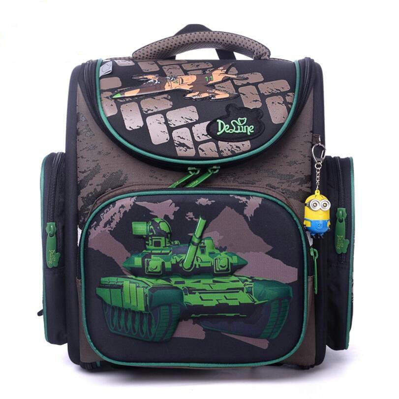 2018 New Brand Delune New boys <font><b>School</b></font> Bag 3D Tank Wars Pattern Waterproof Orthopedic Backpack Schoolbag Mochila Infantil escolar