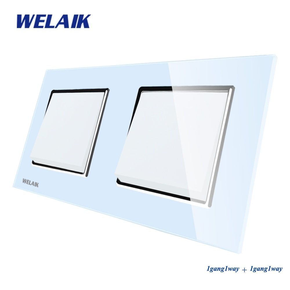 WELAIK Push Button Switch Manufacturer of Wall Light Switch Black White Crystal Glass Panel AC 110-250V 1Gang 1Way A271111W/B