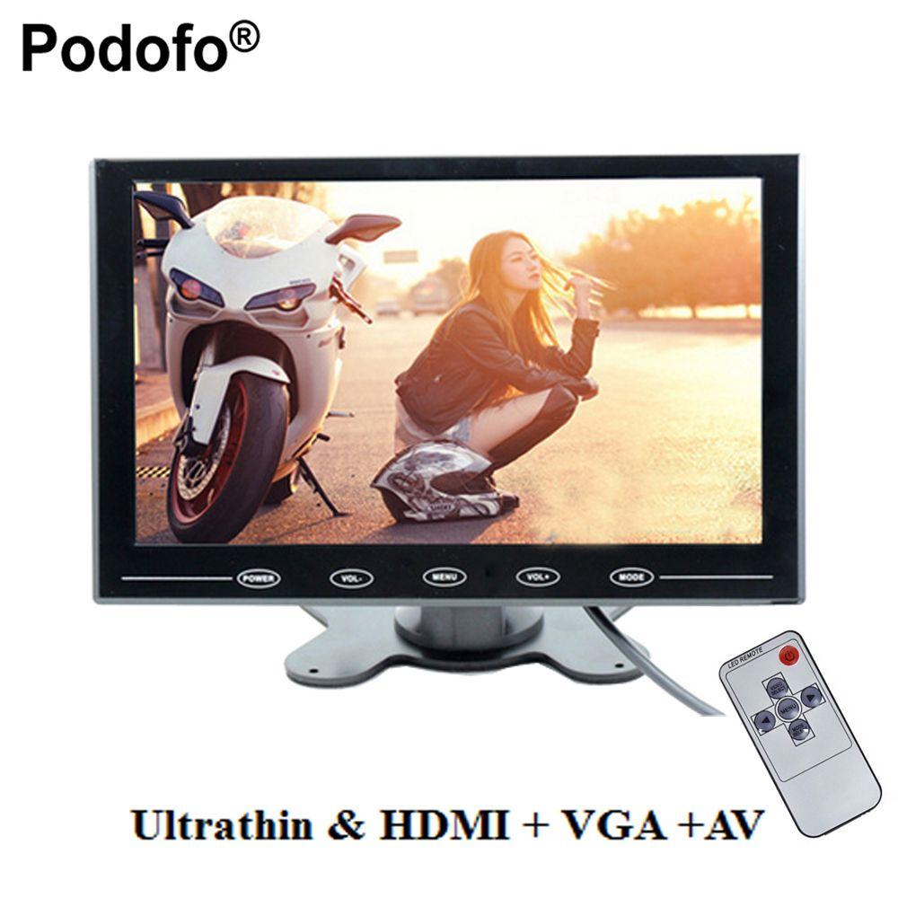 Podofo 9 Ultrathin HD Color TFT 2 Video Input Car Monitor Display Screen For PC CCTV with AV/HDMI/VGA Video Input with Speaker