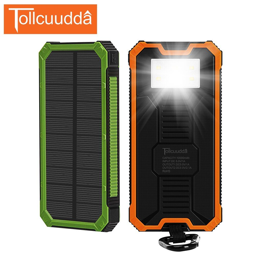Tollcuudda Solaire Poverbank Téléphone Pour Xiaomi Puissance Banque Chargeur Batterie Portable Mobile Pau Banque Powerbank 10000 mah Pour Iphone