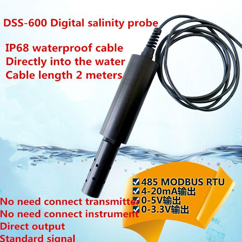 IP68 2M DSS-600 Digital salinity probe online Salinity sensors Salinity electrode MODBUS485/4-20mA/0-5V salinity probe seawater