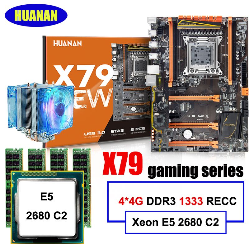 New arrival HUANAN ZHI deluxe discount X79 gaming motherboard with M.2 slot CPU Intel Xeon E5 2680 C2 2.7GHz RAM 16G(4*4G) RECC