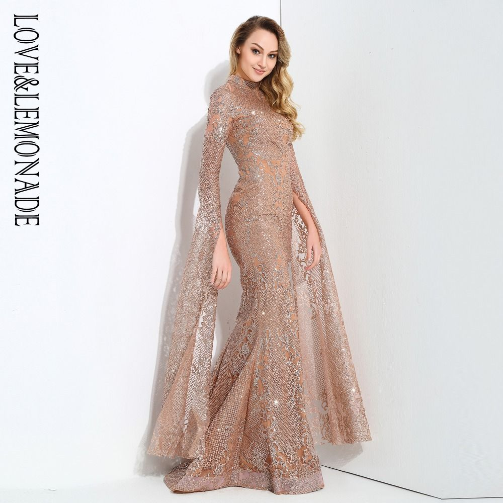 Love&Lemonade Rose Gold Cut Out Speaker Long Sleeve Geometry Glitter Glued Long Dress LM0702
