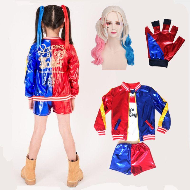 5 pcs Harley Quinn Cosplay Costumes 2018 Enfants Filles Pourim Manteaux Femme Veste Chamarras De Batman Para Mujer Costume avec Perruque Gants
