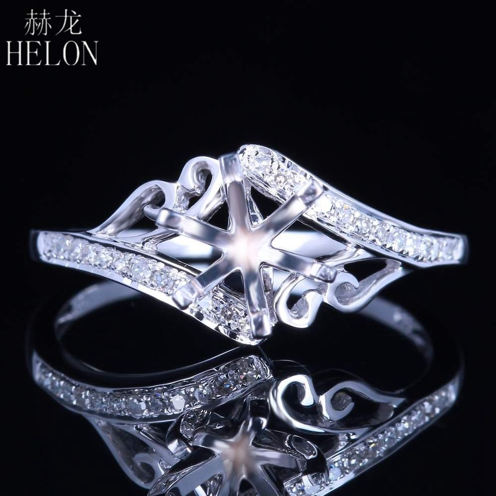HELON Solid 14k White Gold 6mm Round Semi Mount Pave Natural Diamonds Ring Vintage & Antique Engagement Ring Women Fine Jewelry
