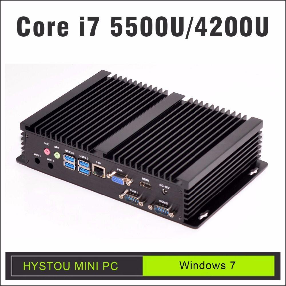 3 Year Warranty HYSTOU Core i5 4200U Fanless Mini PC Desktop 16GB RAM HDD Industrial PC 256GB SSD i5 Mini PC Windows 7 4K HD