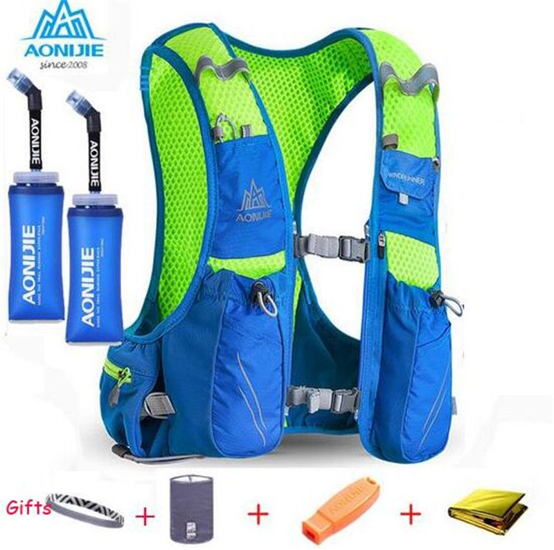 AONIJIE Men Women 10L Outdoor Bags Hiking Backpack Vest Marathon Running Cycling Backpack Optional Bottle Water Bag
