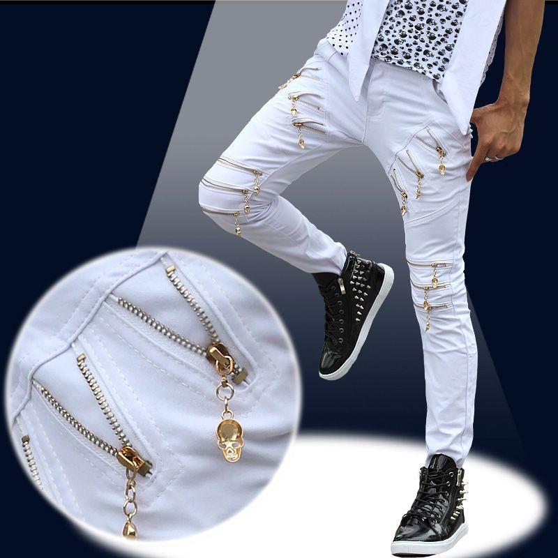 2017 herbst Neue Modemarke Europäische nicht-mainstream-persönlichkeit Mens Weiß Schwarz Gold Schädel Reißverschluss Hosen Mens Dünne Hosen