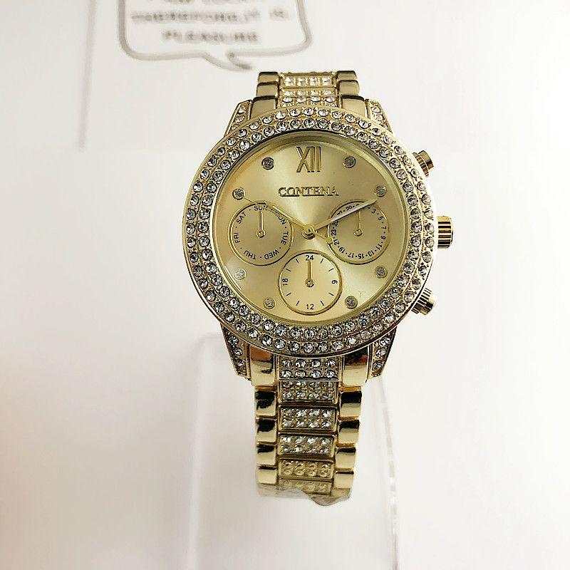 CONTENA Women Watch Elegant Brand Famous Luxury Gold Quartz Watches Ladies Steel Antique Geneva Wristwatches Relogio
