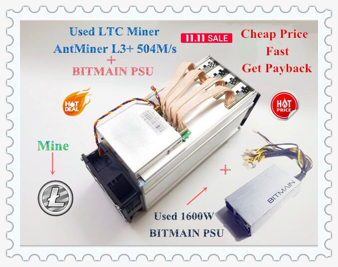 Used LTC Scrypt Miner ANTMINER L3+ 504M With BITMAIN APW3 1600W Litecoin Miner 504M 800W On Wall Better Than ANTMINER L3