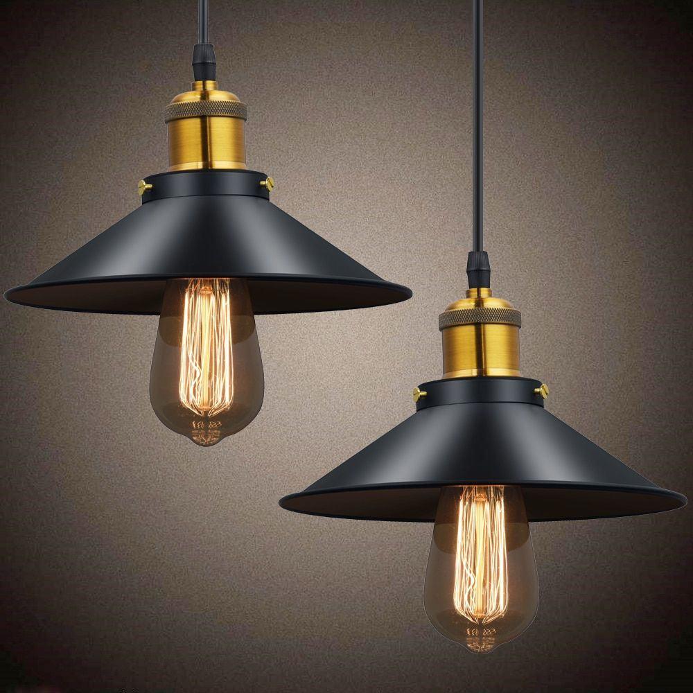 Vintage Pendant Lights Retro Pendant Lamp Metal Lustres Loft Hanging Light Black Lampshades Russia Dining Lighting Luminarias