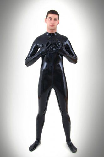 Hot Sale Latex Sexy Costumes Men's Rubber Catsuits Latex Fetish Bodysuit With latex Gloevs&Socks Zipped Through Crotch
