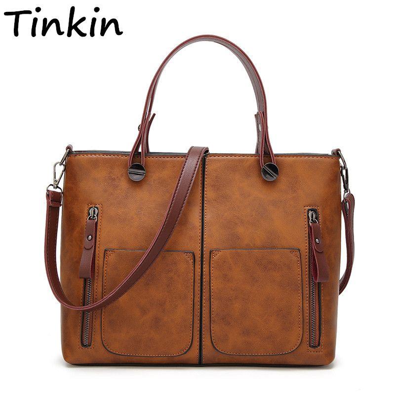 Tinkin Drop Shipping Vintage PU Schulterbeutel-frau Kausalen Totes für Tägliche Einkaufs Alle Zweck Hohe Qualität Dames Tassen