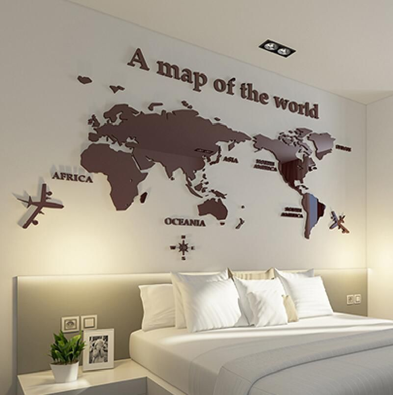 2017 World Map 3D crystal acrylic wall stickers office living room sofa backdrop Home decor Art Sticker Decals best Gift