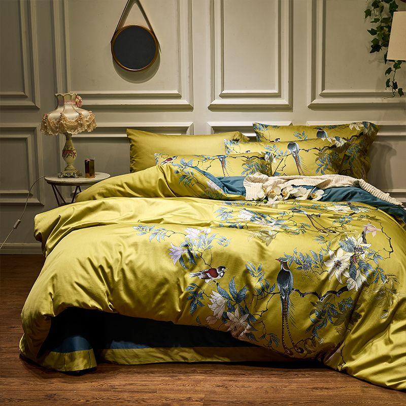 Soyeux coton égyptien jaune vert housse de couette drap housse ensemble de draps King Size reine ensemble de literie ropa de cama/linge de lit