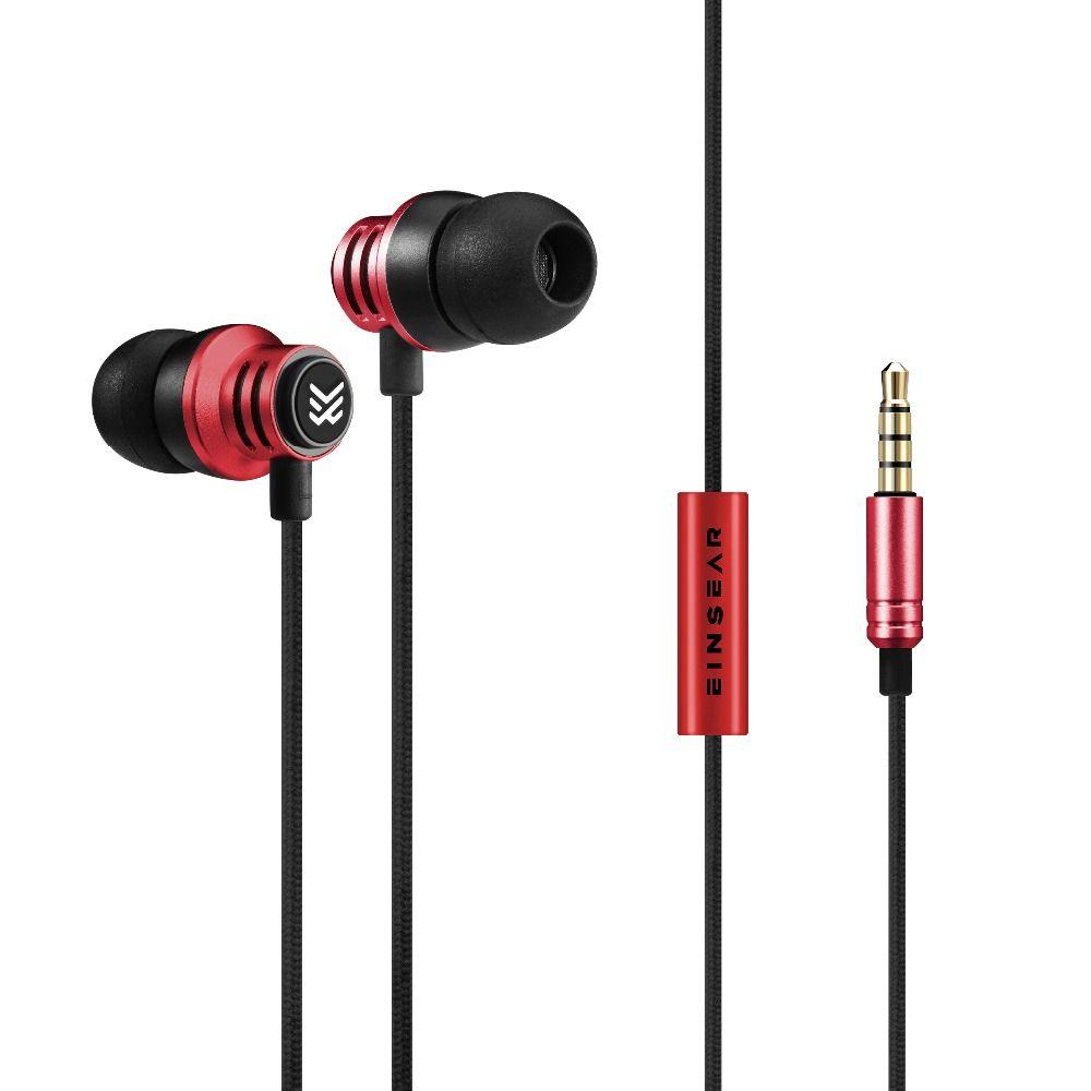 Original EINSEAR T2 In Ear Earphone 3.5MM Stereo In Ear Headset Dynamic Earbuds Aerospace <font><b>aluminum</b></font> alloy Earphone