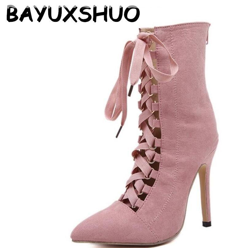 BAYUXSHUO Gladiateur Haute Talons Femmes Pompes Genova Stiletto Sandale Chaussons Bout Pointu À Bretelles Lace Up Pompes Chaussures Femme Bottes