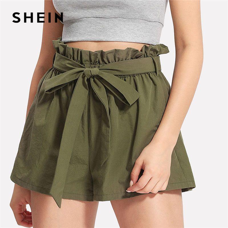 SHEIN Casual Ruffle Waist Self Belt Bow Shorts Army Green High Waist <font><b>Wide</b></font> Leg Shorts 2018 Summer New Women Plain Shorts
