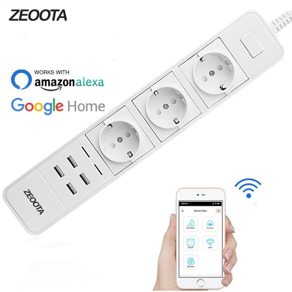 Smart Wifi Power Strip Surge Protector Multiple Power Sockets 4 USB Port Voice Control for Amazon Echo Alexa's Google Home Timer